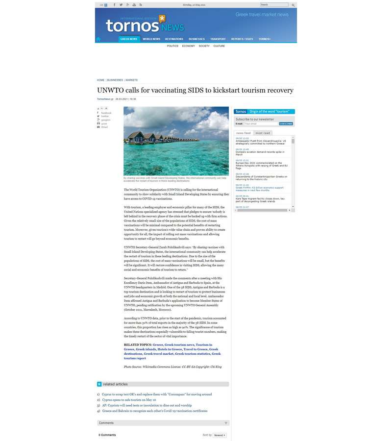 UNWTO calls for vaccinating SIDS to kickstart tourism recovery