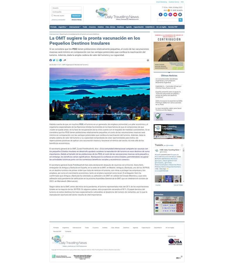 La OMT sugiere la pronta vacunación en los Pequeños Destinos Insulares