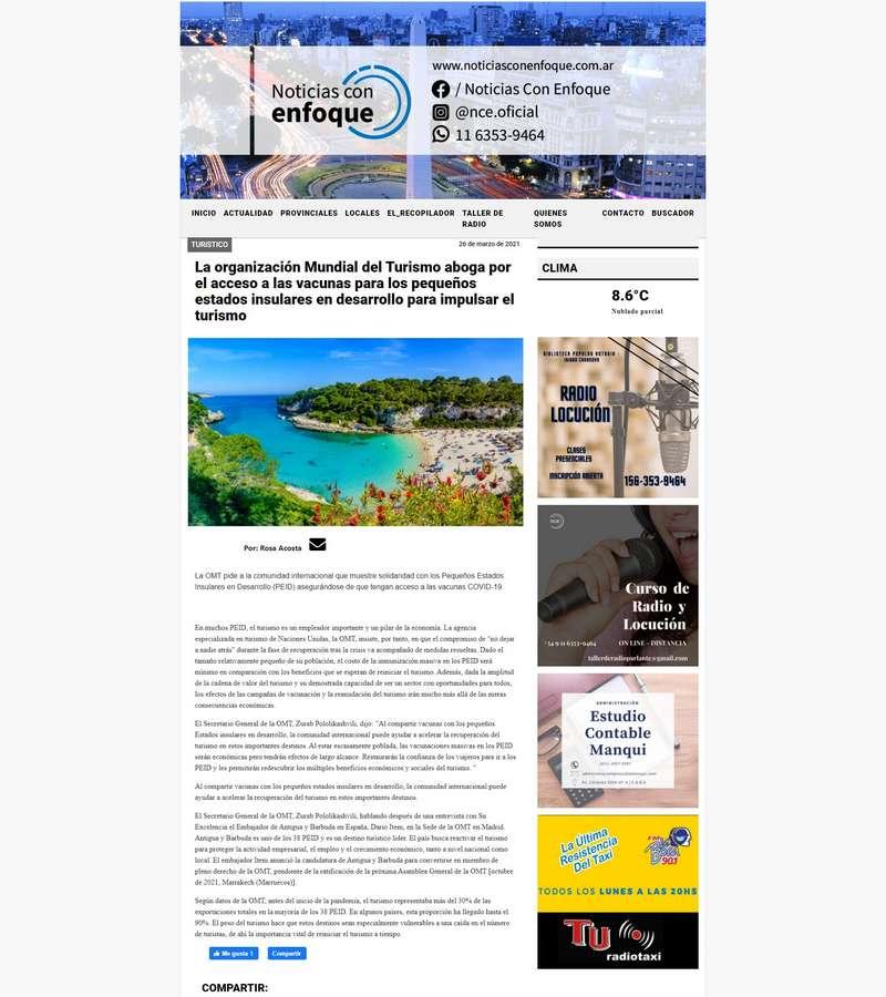La organización Mundial del Turismo aboga por el acceso a las vacunas para los pequeños estados insulares en desarrollo para impulsar el turismo