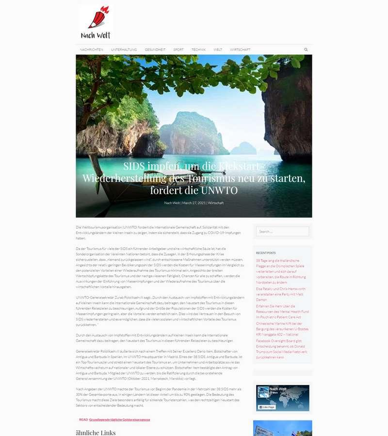 SIDS impfen, um die Kickstart-Wiederherstellung des Tourismus neu zu starten, fordert die UNWTO