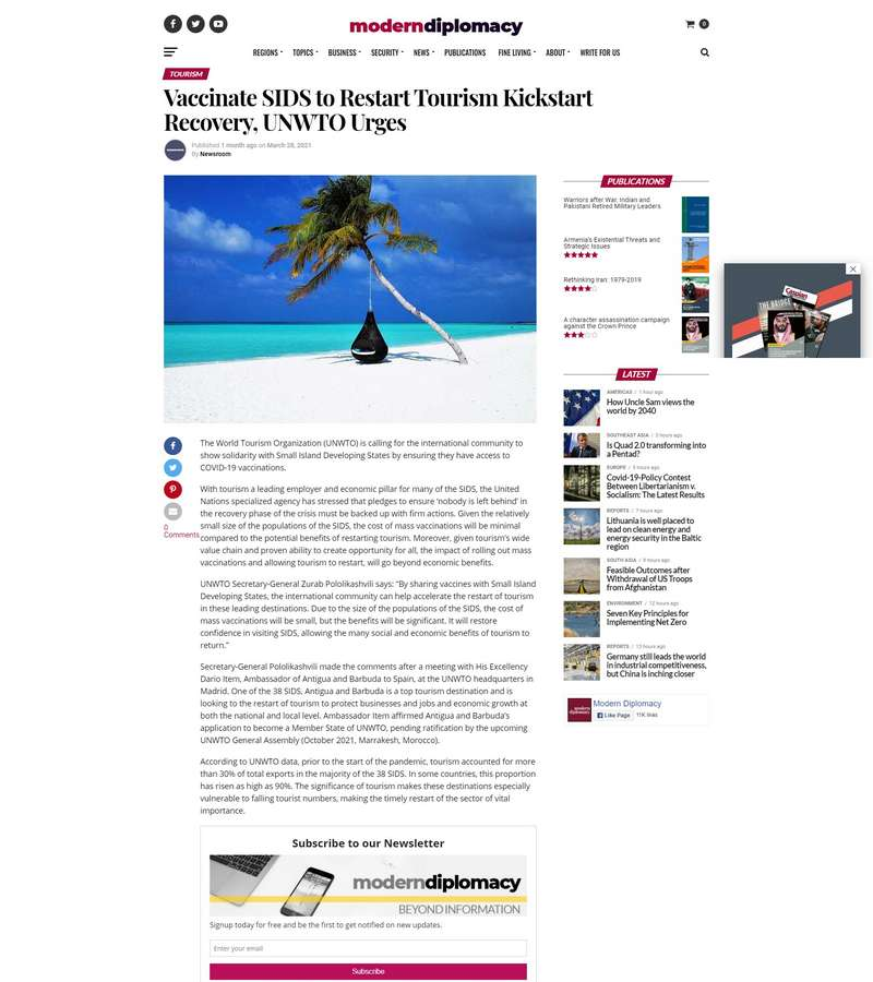 Vaccinate SIDS to Restart Tourism Kickstart Recovery, UNWTO Urges