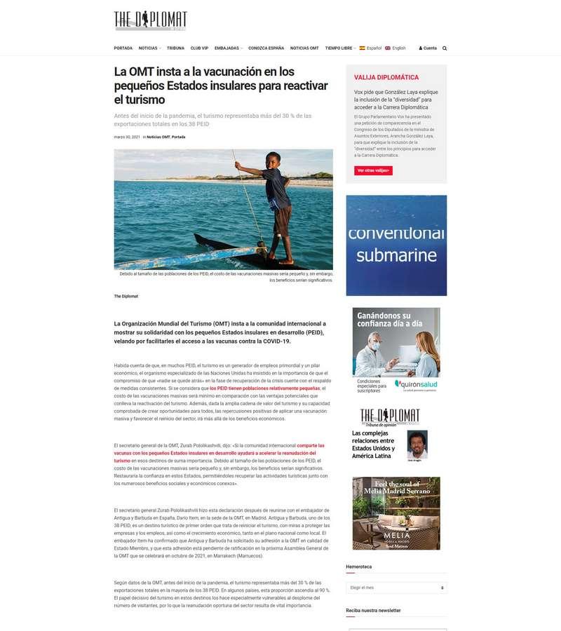 La OMT insta a la vacunación en los pequeños Estados insulares para reactivar el turismo