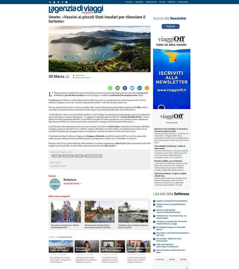 UNWTO: «Vaccini ai piccoli Stati insulari per rilanciare il turismo»